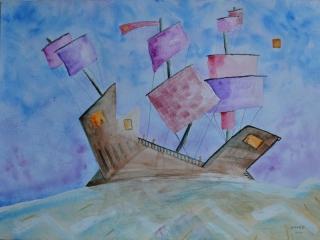 Bateau ivre N°7, Voilier Cubiste