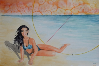 OmorO - Femme de Marin - 2017 - Aquarelle sur papier - 42 x 30 cm