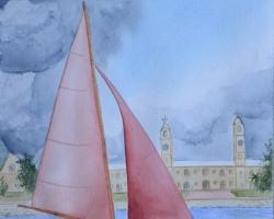 OmorO - Bermuda Dinghy 2 - 2017 - Aquarelle sur papier - 36 x 51 cm