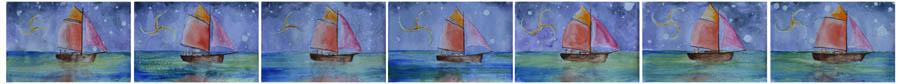 OmorO - Retour au Port N°1 - Aquarelle sur papier - 25 x 16 cm