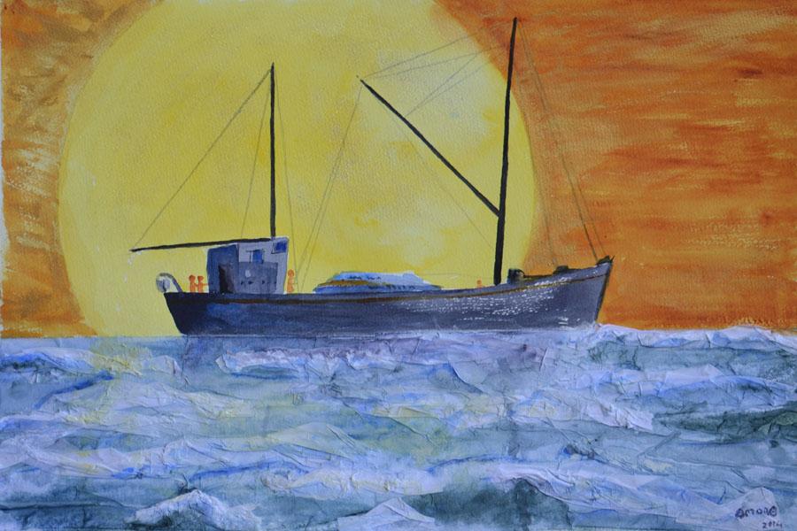 OmorO - Cargo au coucher du soleil - 2014