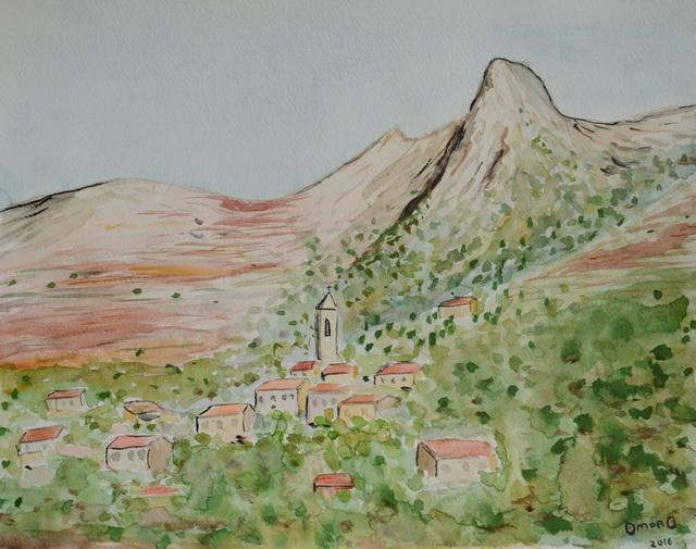 OmorO - 2016 - Village Corse - Aquarelle - 32 x 24 cm