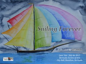 "OmorO celebrates the beauty of The America's Cup in Bermuda with his Art Show ""Sailing Forever""."