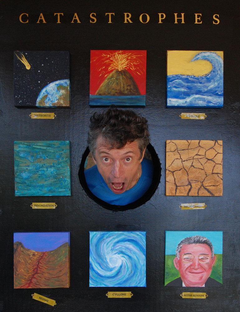 Panneau de bois, 8 peintures acryliques, lettrage